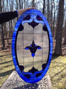 Stained Glass Window 41 L x 23.5 W inches - Blue